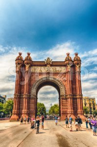 Arc de Triomf, iconic triumphal arc in Barcelona, Catalonia, Spain Stock Photo