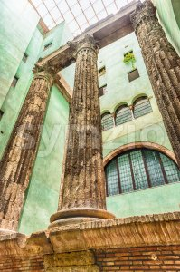 Roman columns of the Temple of Augustus, Barcelona, Catalonia, Spain Stock Photo
