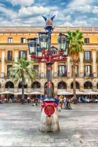 Lantern by Antoni Gaudi in Placa Reial, Barcelona, Catalonia, Spain Stock Photo