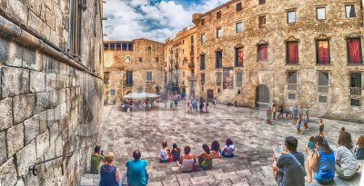 Panoramic view of Placa del Rei, Barcelona, Catalonia, Spain Stock Photo
