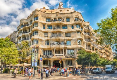 Facade of the modernist masterpiece Casa Mila, Barcelona, Catalonia, Spain Stock Photo