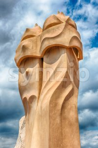 Iconic chimneys on rooftop of Casa Mila, Barcelona, Catalonia, Spain Stock Photo