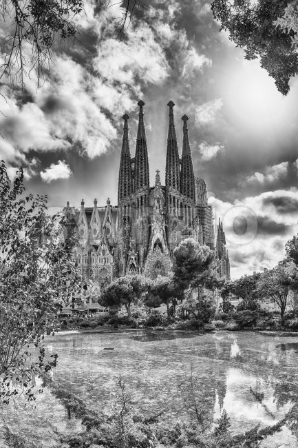 Scenic view of the Sagrada Familia, Barcelona, Catalonia, Spain Stock Photo