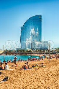Hotel Vela on Barceloneta beach, Barcelona, Catalonia, Spain Stock Photo