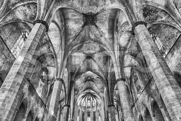 Interior of Santa Maria del Mar in Barcelona, Catalonia, Spain Stock Photo