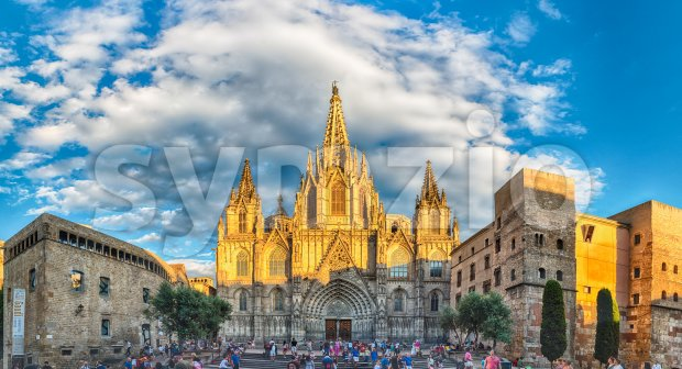Panoramic view of Barcelona Cathedral, Catalonia, Spain Stock Photo