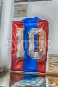 Diego Armando Maradona football shirt, FC Barcelona's Museum, Catalonia, Spain Stock Photo