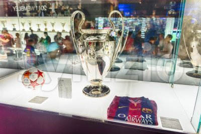 Champions League trophy, Camp Nou Museum, Barcelona, Catalonia, Spain Stock Photo
