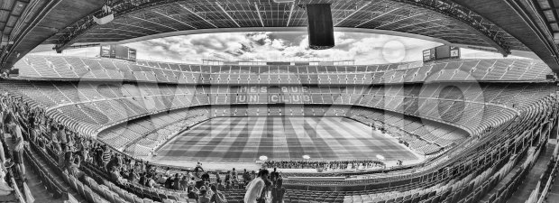 Panoramic view of Camp Nou stadium, Barcelona, Catalonia, Spain Stock Photo