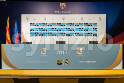 Press conference room for Spanish Super Cup, Barcelona, Catalonia, Spain Stock Photo