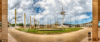 Panoramic view of the Olympic Park, Montjuic, Barcelona, Catalonia, Spain Stock Photo