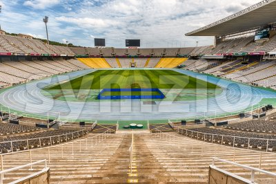 Interior view of the Olympic Stadium, Montjuic, Barcelona, Catalonia, Spain Stock Photo