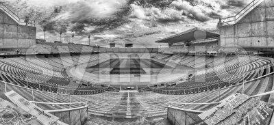 Panoramic view inside the Olympic Stadium, Montjuic, Barcelona, Catalonia, Spain Stock Photo