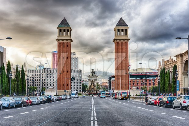 Venetian Towers, iconic landmarks in Barcelona, Catalonia, Spain Stock Photo