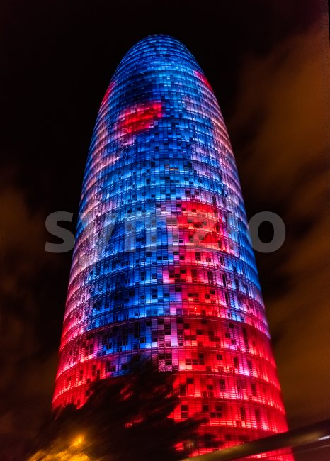 BARCELONA - AUGUST 11: Torre Glories, formerly Agbar, by night in Barcelona, Catalonia, Spain, on August 11, 2017. The tower ...