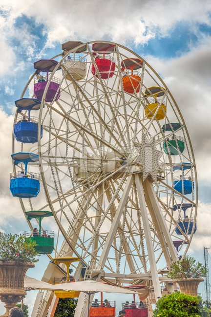 Vintage ferris wheel at Tibidabo Amusement Park, Barcelona, Catalonia, Spain Stock Photo