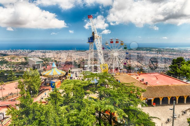 Aerial view over the Tibidabo Amusement Park, Barcelona, Catalonia, Spain Stock Photo
