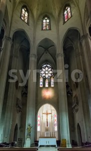 Interior of the Sacred Heart Church, Barcelona, Catalonia, Spain Stock Photo