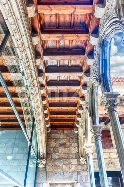 Wooden beams in Museu Picasso cloister, Barcelona, Catalonia, Spain Stock Photo