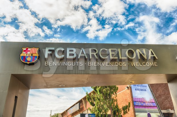BARCELONA - AUGUST 11: Welcome signboard at the entrance gate of the Camp Nou Experience Tour and Museum at the ...