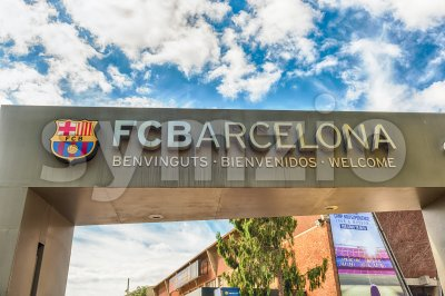Welcome signboard of FC Barcelona Tour and Museum, Catalonia, Spain Stock Photo