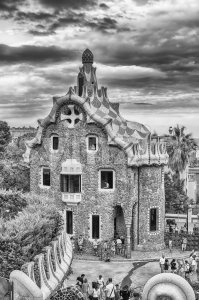 Modernist building in Park Guell, Barcelona, Catalonia, Spain Stock Photo