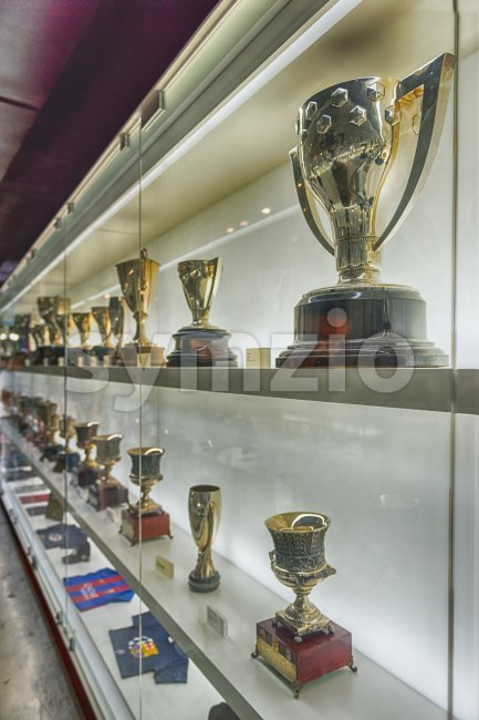 Trophy case at FC Barcelona's Museum, Barcelona, Catalonia, Spain Stock Photo