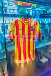 FC Barcelona away shirt, Camp Nou Museum, Barcelona, Catalonia, Spain Stock Photo