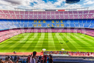 Inside Camp Nou, home stadium of FC Barcelona, Catalonia, Spain Stock Photo