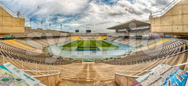 BARCELONA - AUGUST 11: Panoramic view inside the Olympic stadium Lluis Companys, in the Olympic Ring complex located on Montjuic ...