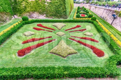 Garden at the Castle of Montjuic, Barcelona, Catalonia, Spain Stock Photo