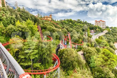 Rollercoaster attraction at Tibidabo Amusement Park, Barcelona, Catalonia, Spain Stock Photo