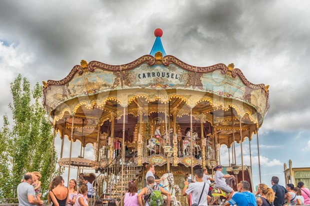 Old vintage carousel at Tibidabo Amusement Park, Barcelona, Catalonia, Spain Stock Photo