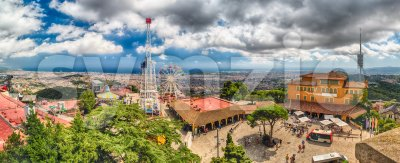 Panoramic view over the Tibidabo Amusement Park, Barcelona, Catalonia, Spain Stock Photo
