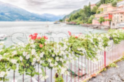 Defocused background of the picturesque village of Varenna, Italy Stock Photo