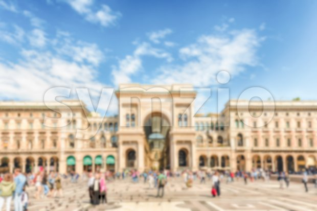 Defocused background of Galleria Vittorio Emanuele II in Milan, Italy Stock Photo