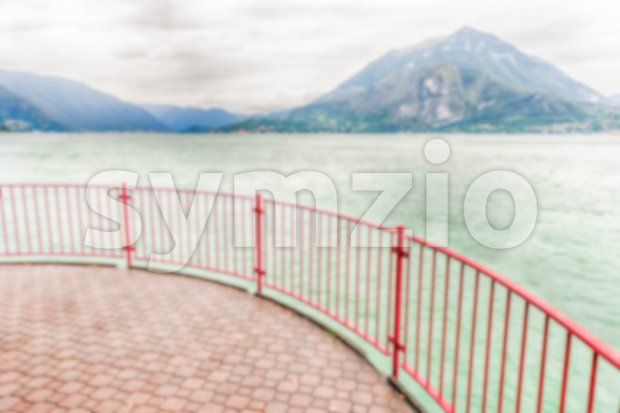 Defocused background with balcony over the Lake Como, Italy Stock Photo