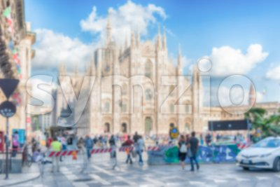 Defocused background with the gothic Milan Cathedral, Italy Stock Photo