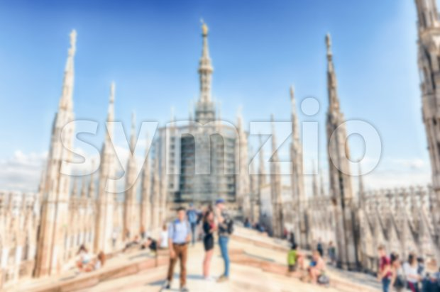 Defocused background with the roof terrace of Milan's Cathedral, Italy Stock Photo