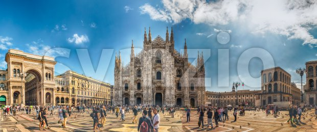 MILAN - SEPTEMBER 11: Panoramic view of Piazza Duomo, with the gothic cathedral and iconic landmark of Milan, Italy, on ...