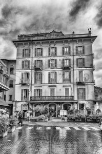 Facade of the Metropole Hotel in Bellagio, Lake Como, Italy Stock Photo