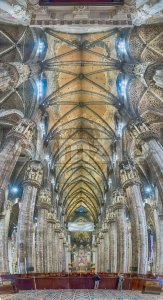 Panoramic view inside the gothic Cathedral of Milan, Italy Stock Photo