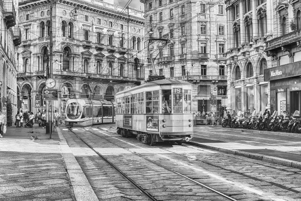 Trams operating in the city centre of Milan, Italy Stock Photo