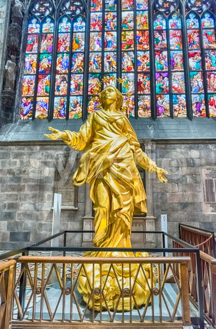 Replica of Madonna statue inside the Cathedral of Milan, Italy Stock Photo