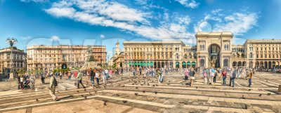 Panoramic view of Piazza Duomo, Milan, Italy Stock Photo