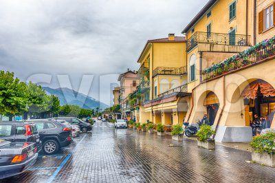 A rainy day in Bellagio town, Lake Como, Italy Stock Photo