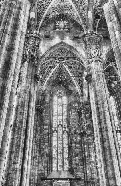 MILAN - SEPTEMBER 11: Interior design of the gothic Cathedral, iconic landmark of Milan, Italy, September 11, 2017