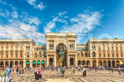 Galleria Vittorio Emanuele II facing Piazza Duomo in Milan, Italy Stock Photo