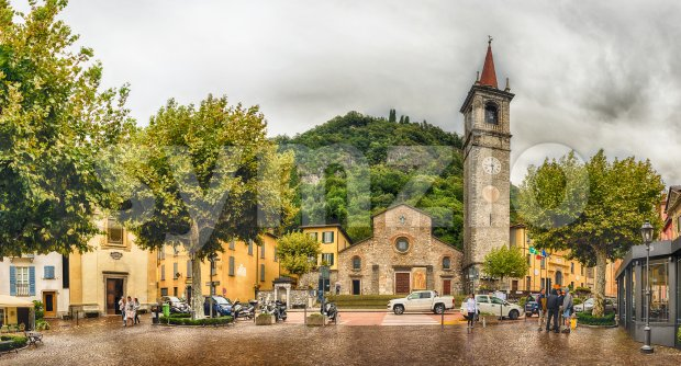 Facade of St. George's church in Varenna, Lake Como, Italy Stock Photo