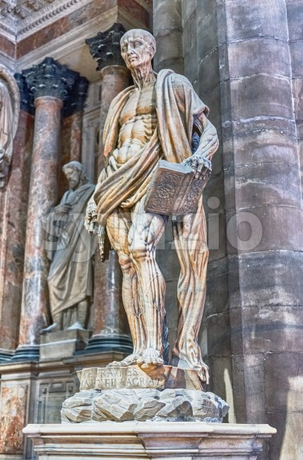 MILAN - SEPTEMBER 11: Statue of Saint Bartholomew the Apostle, with his own skin, by Marco d'Agrate, 1562. Interior of ...